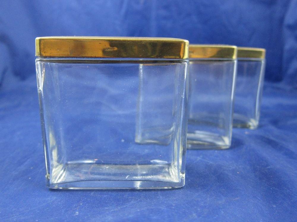 Vintage Spice Jars Glass with Metal Lids Retro Kitchenware