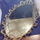 vintage Ormolu-style vanity perfume mirrored tray glass mirror and metal