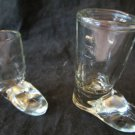 2 vintage shot glasses shaped like boots pressed glass shotglass boot shaped