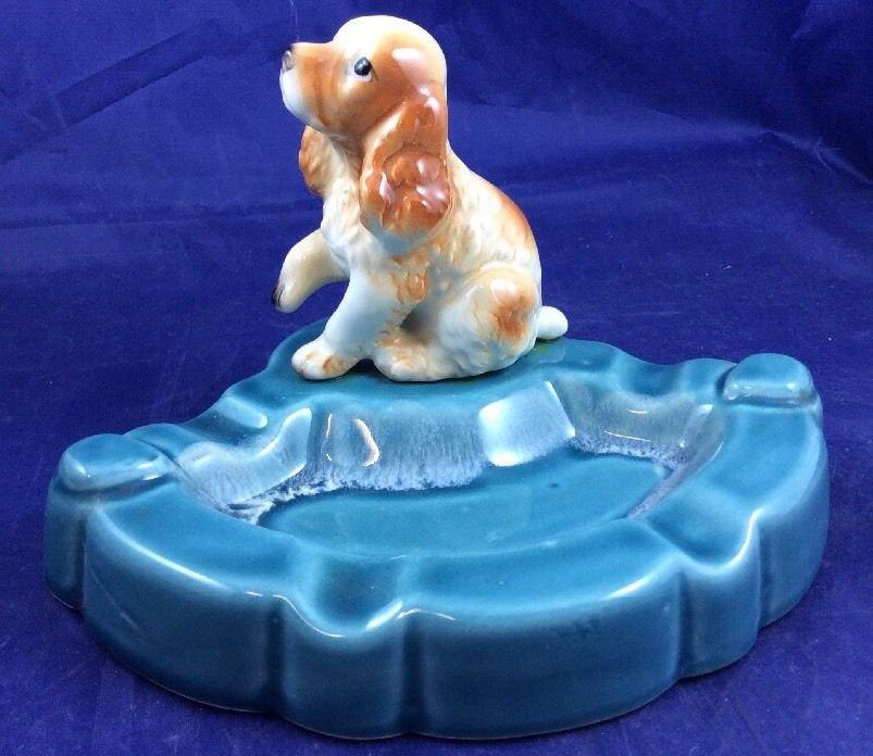 Vintage Ceramic Cocker Spaniel Dog Ashtray Retro Kitsch Ash Tray