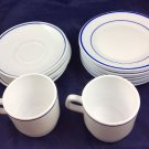 Vintage Arcopal Restaurant France Cups Saucers Plates White With Blue 16 Pieces
