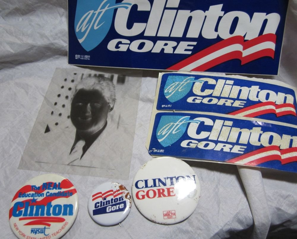 President Bill Clinton political items~3 pins/buttons~stickers~photo negative