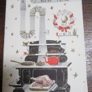 vintage Christmas card with turkey and kitchen stove on the front~B-33