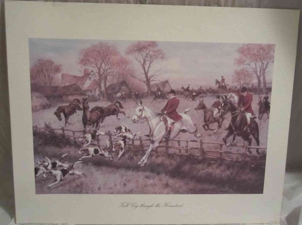 George Wright print Full Cry Through the Homestead 16 X 20 Horse & Hunt theme