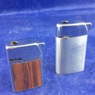 2 vintage Bentley Butane Lighters Metal Chrome Wood Grain Austria Lighter