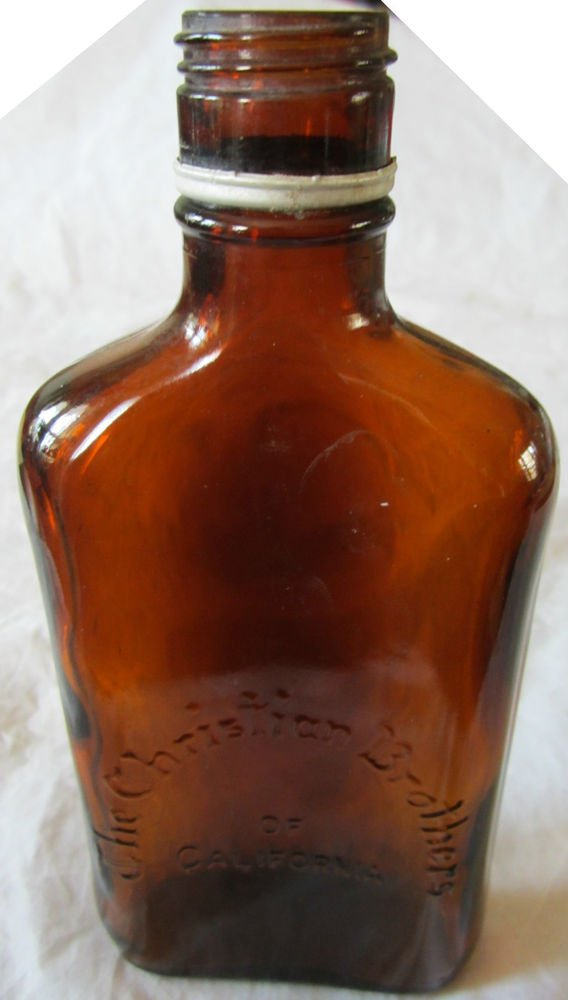 The Christian Brothers of California Flask bottle~vintage glass~FREE US SHIP