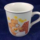 Vintage 1985 Care Bears Mug Friend Bear with number 4