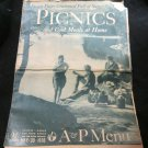 vintage A&P Menu~Picnics~May 30 1936~supermarket~grocery store promo~freeUS ship