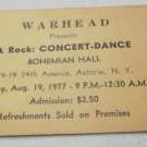 vintage concert ticket Warhead presents A Rock Concert-Dance 1977 Astoria NY