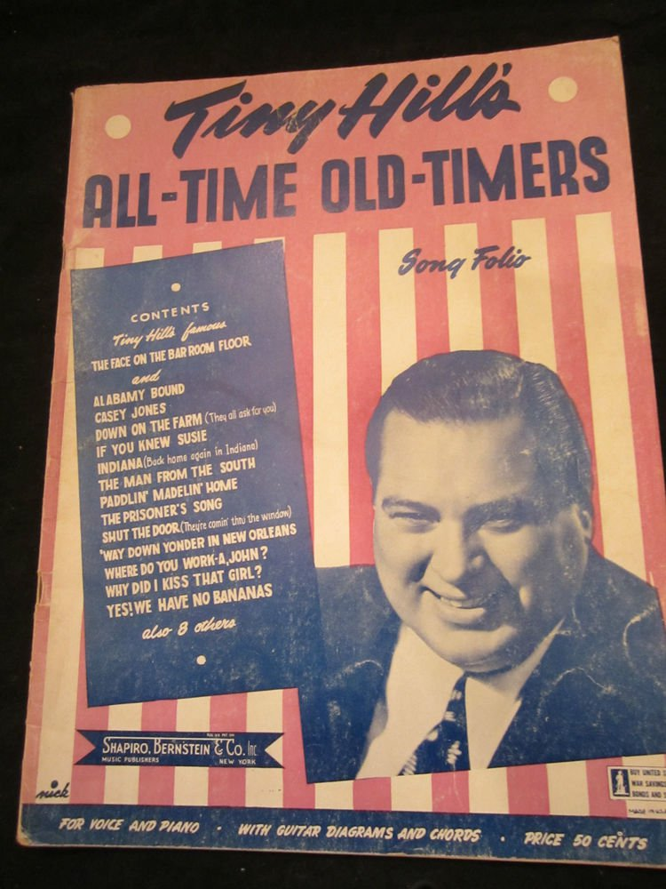 Tiny Hill�s All-time Old-timers Song Folio~vintage music book~1943~FREE US SHIP