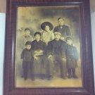 "Large Antique Framed Photo/Illustration 21 x 25"" Dead Child? Family Portrait"