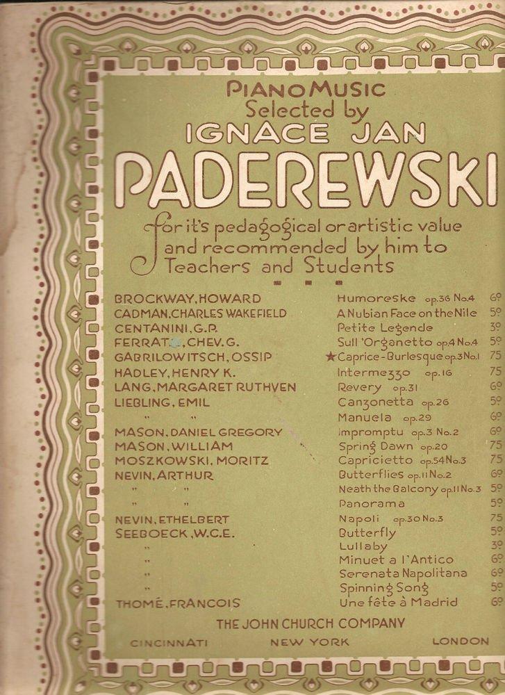 Ignace Jan Paderewski~piano~sheet music~Caprice Burlesque~1901~FREE US SHIP
