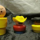 Fisher Price Little People~larger sized~1990~boy, girl & cowboy~FREE US SHIP