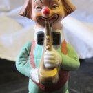 vintage Clown figurine~porcelain clown playing a saxophone~FREE US SHIPPING