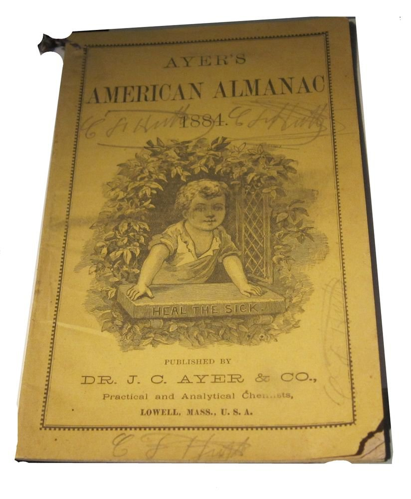 1884 Ayer�s American Almanac Dr JC Ayer Lowell MA Massachusetts antique ephemera