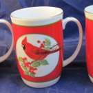 3 Otagiri Japan Christmas mugs with red cardinal on a holly branch w/ gold trim