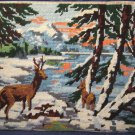 Steiner Freres Royal Paris finished deer in snow forest embroidery needlepoint