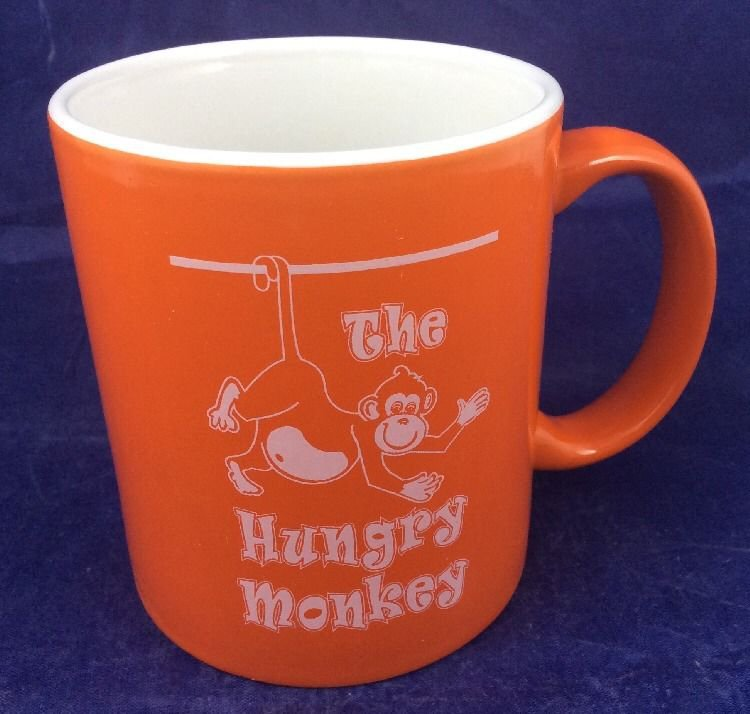 The Hungry Monkey Orange Ceramic Coffee Mug Newport RI Rhode Island restaurant