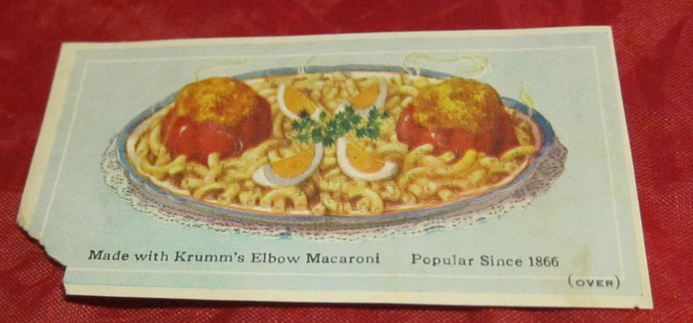 A.C. Krumm & Son Macaroni Co. Philadelphia PA recipe card~kitchen food ephemera
