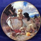 The Hamilton Collection Lunch Break Plate Jim Lamb Numbered 1994 Puppies Dogs