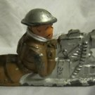 B62 Barclay Toy Soldier~Machine Gunner lying flat cast helmet~silver gun