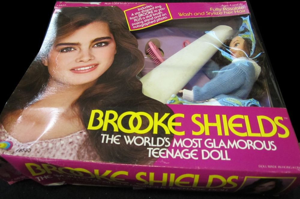 """Brooke Shields fully posable 11.5"""" doll in box~wearing blue sweater~by LJN Dolls"""