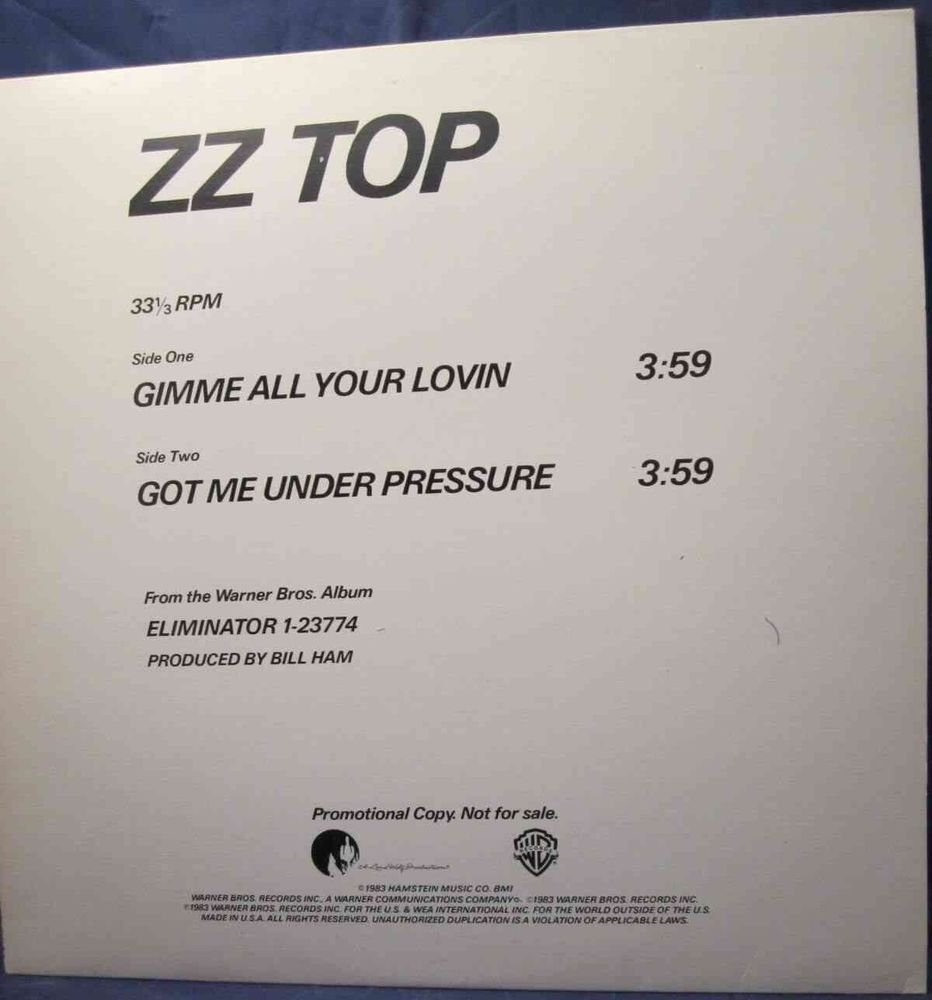 "ZZ Top Gimme All Your Lovin & Got Me Under Pressure Single Promo Sampler 12"""
