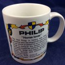 Philip Horse Lover name meaning mug 10 Oz Phil Phillip Japan Roots Contenova
