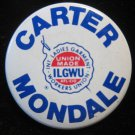 Carter-Mondale ILGWU union endorsed election pin/button~FREE US SHIP