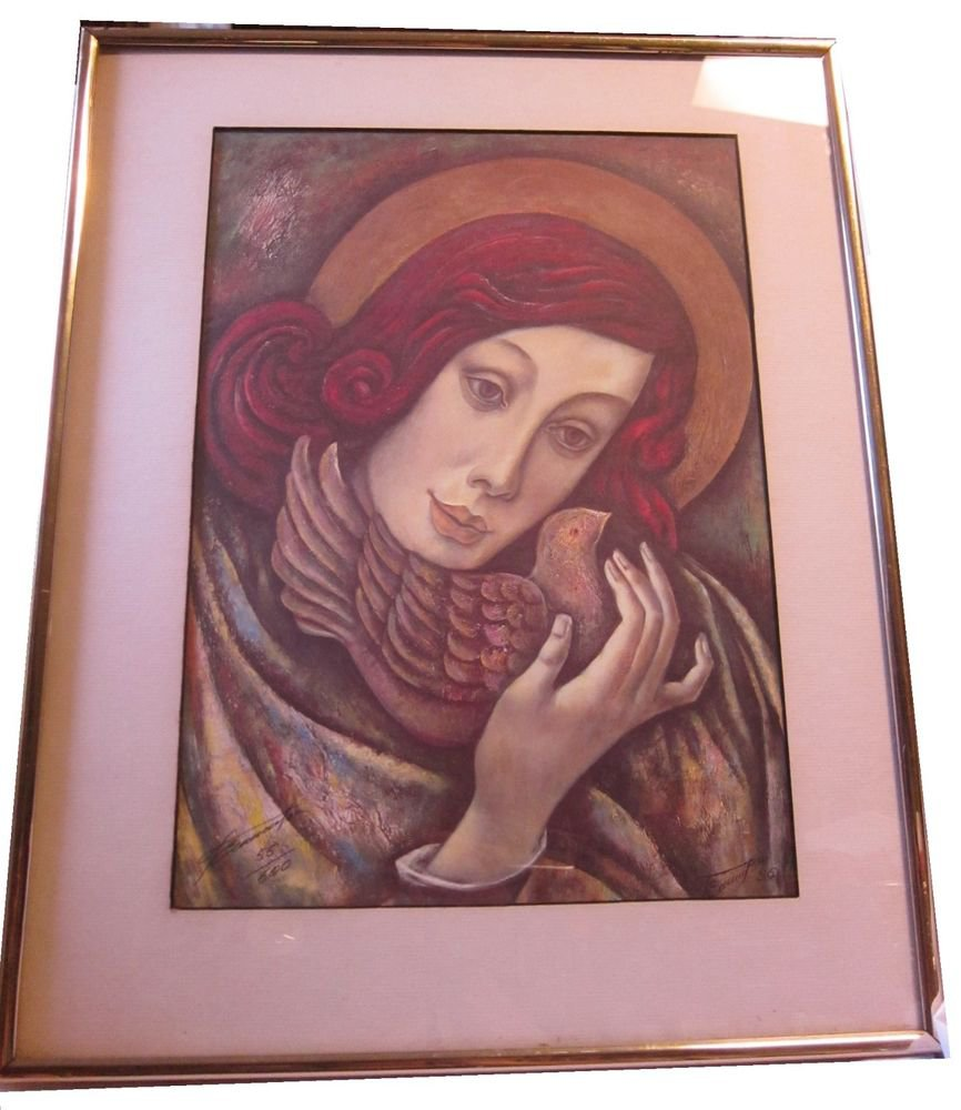 Saint Angel numbered print Red Hair Dove Woman signed 1996 Mary Magdalene?