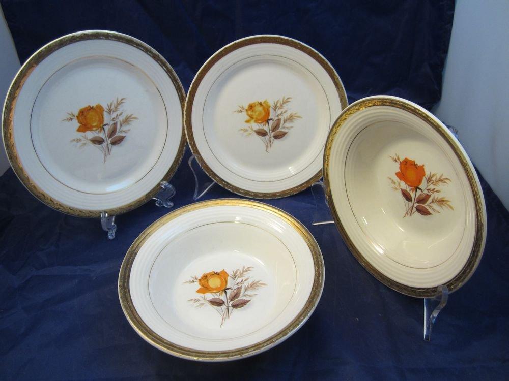 Triumph American Limoges Sebring Vermillion Rose bowls & plates bowl plate dish