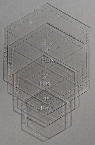 "1/8"" Clear Acrylic Laser Cut Quilting Templates Hexagon 2,3,4,5 inch set"