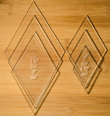 """1/8"""" Clear Acrylic Laser Cut Quilting Templates 60 Degree Diamond set"""