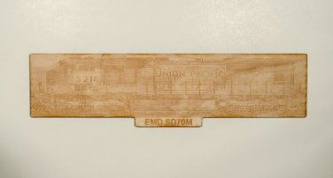 Union Pacific EMD SD70M Laser engraved wooden sign