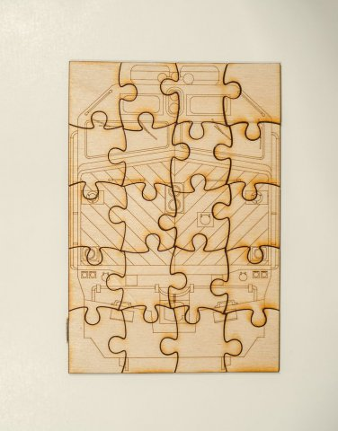 Metra EMD F40 Laser engraved and cut Wooden Puzzle