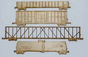 Railroad freight cars Set of laser engraved and cut Magnets