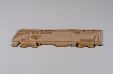 Amtrak P42 Laser engraved and cut Wood Magnet