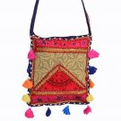 INDIAN BANJARA PATCHWORK VINTAGE HANDMADE EMBROIDERED BAG CROSS PURSE{13.5X11.8}
