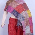 Indian Handmade Vintage Silk Patchwork Kantha Shawl / Scarves Shawl Reversible