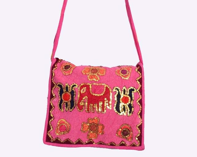 INDIAN BANJARA ELEPHANT HANDMADE VINTAGE ETHNIC MOTI WORK TRIBAL BAG CROSS PURSE