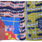 INDIAN VINTAGE KANTHA FLORAL QUILT BEDSPREAD REVERSIBLE BLANKET THROW GUDARI ART