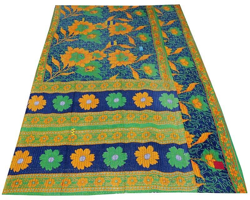 INDIAN VINTAGE TWIN GUDARI KANTHA QUILT COTTON THROW BEDDING BEDSPREAD BLANKET