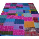 INDIAN KANTHA HANDMADE IKAT SILK&COTTON PATCHWORK QUILT VINTAGE THROW GUDARI ART
