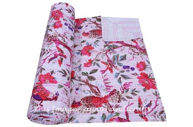Indian White&Red Bird Kantha Reversible Throw Ethnic Cotton Art Bedspread Gudari