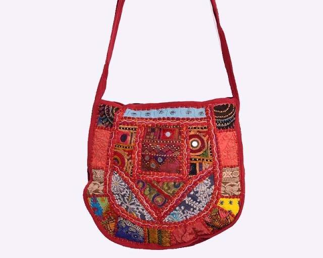 INDIAN BAG BANJARA EMBROIDERY VINTAGE PATCHWORK HANDMADE ETHNIC MIRROR WORK ART