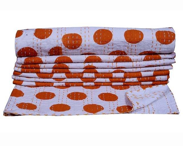 Indian Handmade Ikat Kantha Quilt Bedding Cotton Blanket Reversible Gudari{2551}