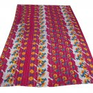 Indian Kantha GUDARI Quilt 100% Cotton Bedding Reversible Ikat Blanket Throw