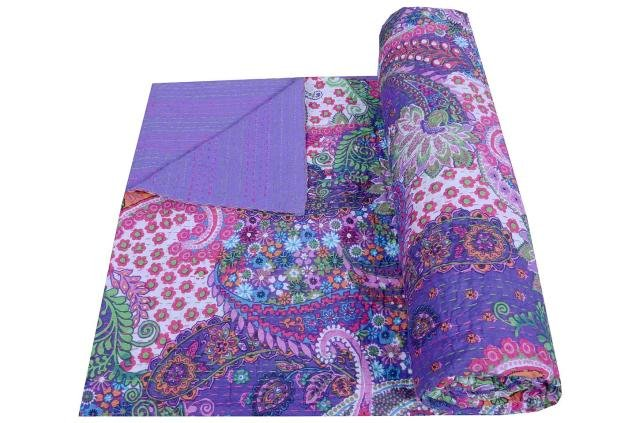 INDIAN QUEEN SIZE COTTON KANTHA QUILT THROW RALLI REVERSIBLE BEDSPREAD GUDARI