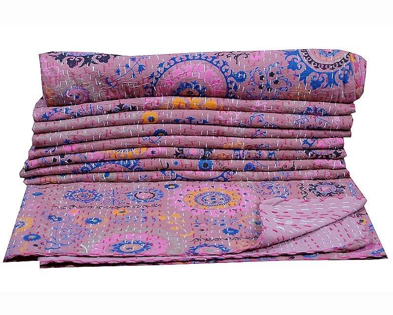 INDIAN TWIN KANTHA QUILT BEDSPREAD REVERSIBLE BLANKET THROW GUDARI DECOR ART