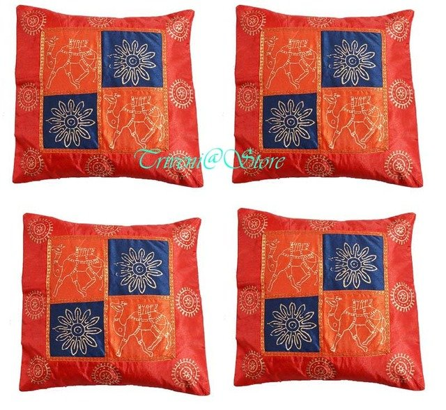 """""""16"""" INDIAN NICE PATCHWORK SILK CUSHION PILLOW COVER EMBROIDERED VINTAGE ETHNIC"""
